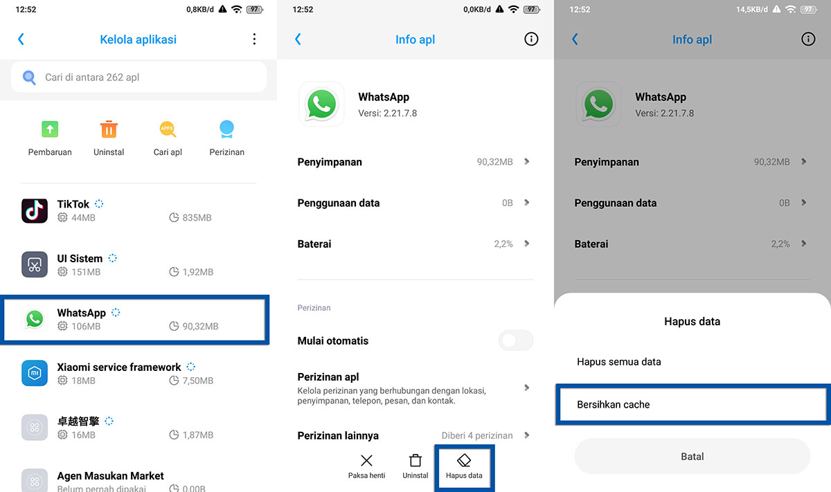 Hapus Cache Aplikasi Xiaomi