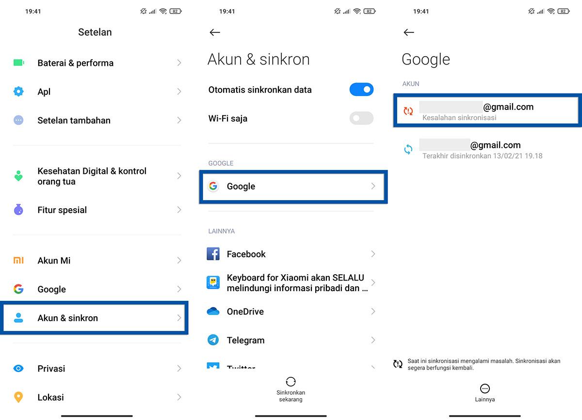 Memilih akun Google Xiaomi