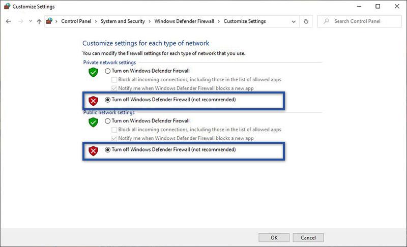 Nonaktif Windows Firewall