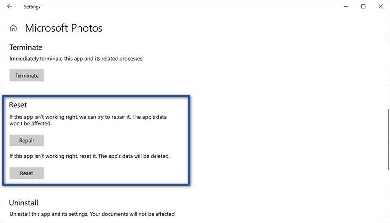 Reset Aplikasi Photos