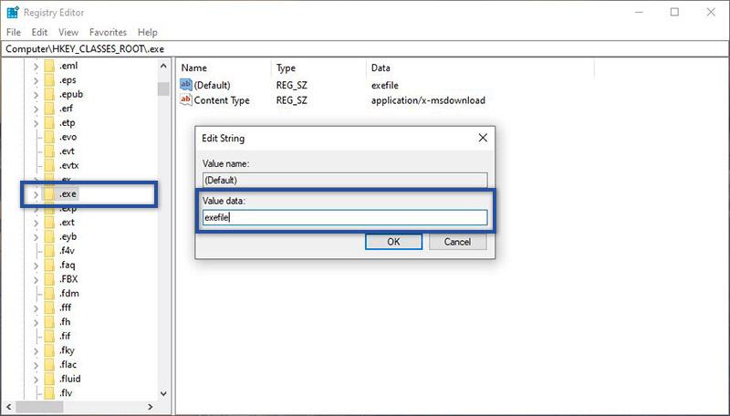 Ubah Value Data Folder Exe