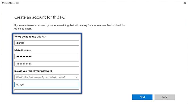 Mngisi Data Akun Microsoft