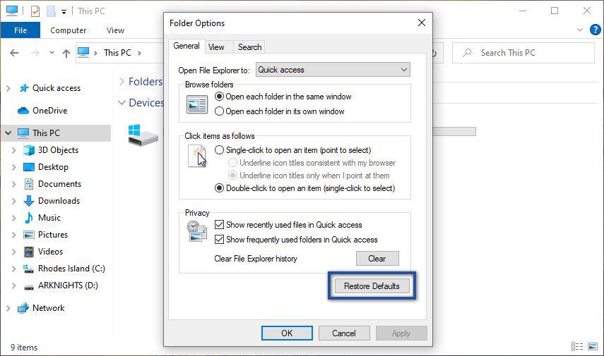 Restore File Explorer