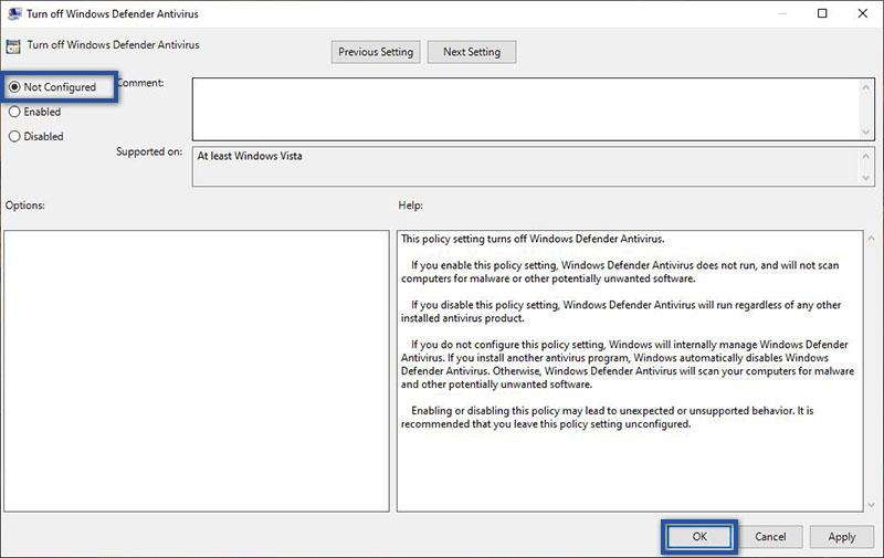 Ubah Pengaturan Windows Defender