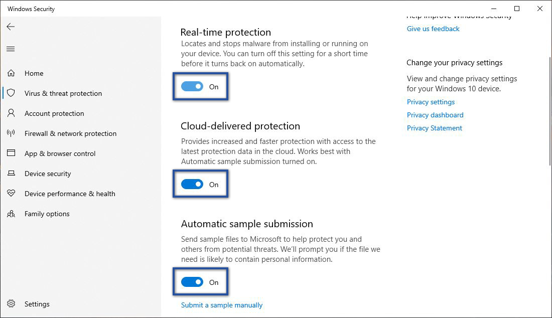 Nonaktifkan Semua Opsi Windows Security