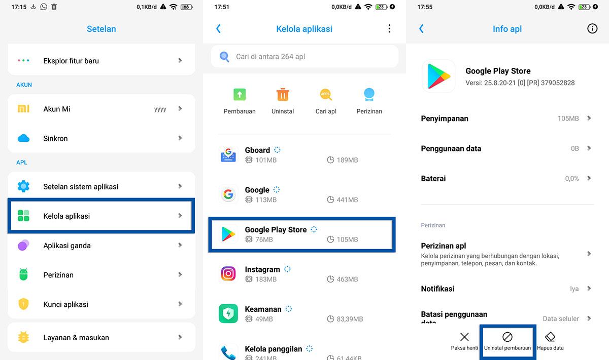 Uninstall pembaruan Google Play Store