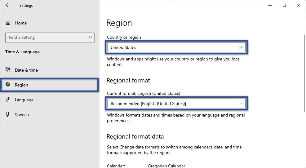 Menyesuaikan Region Windows