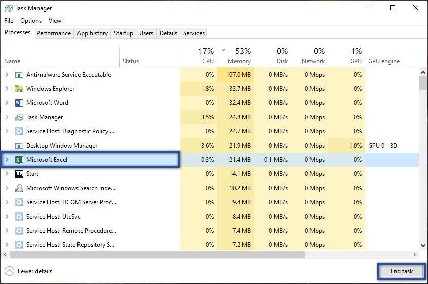 Microsoft Excel Task Manager