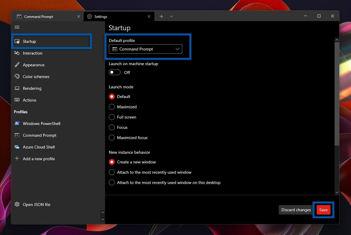 2 Atur Command Prompt jadi default profil Windows Terminal