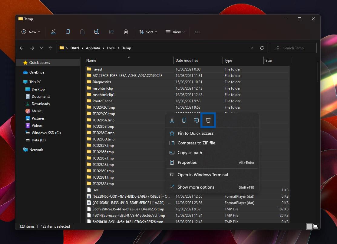 2 Bersihkan file sementara temp Windows 11