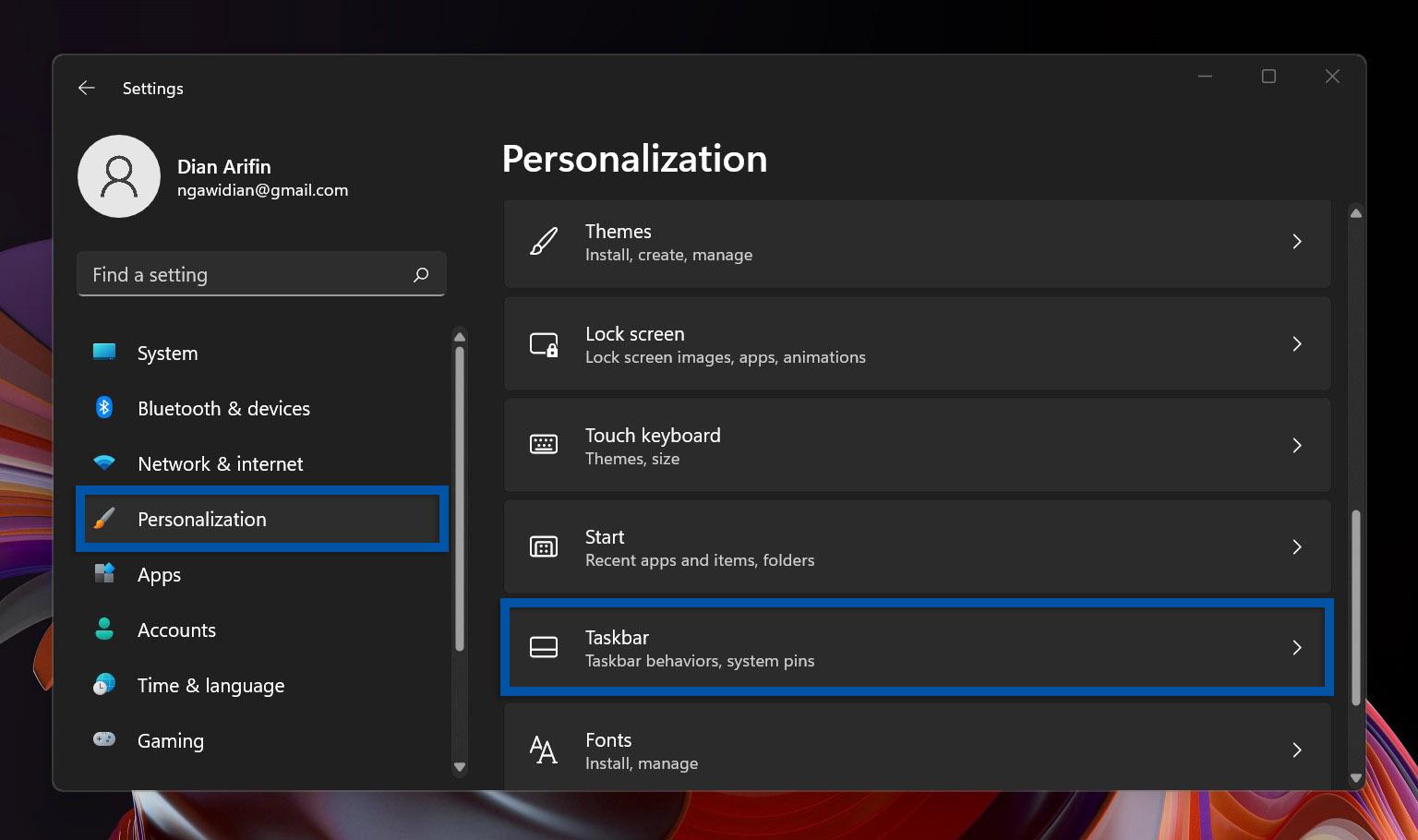2 Buka Personalization Windows 11