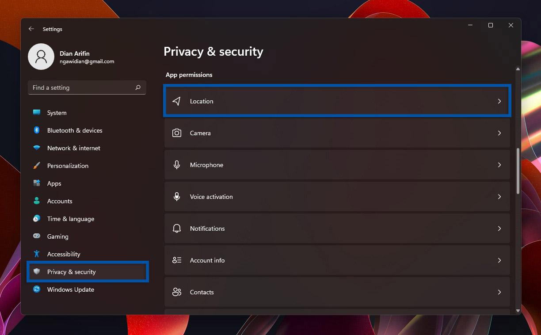 2 Pilih fitur Location Windows 11