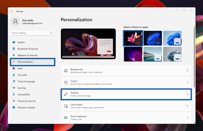 2 Pilih menu Themes Windows 11