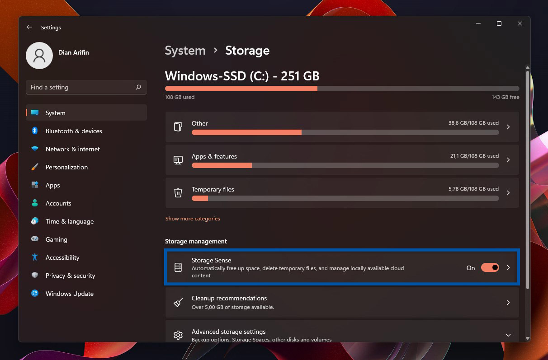3 Aktifkan Storage Sense Windows 11
