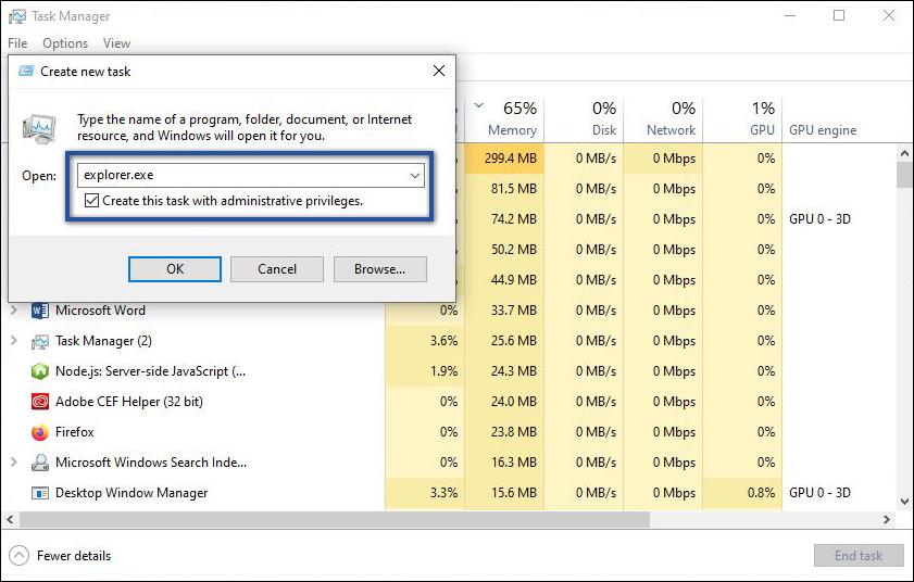 Run New Task Windows Explorer