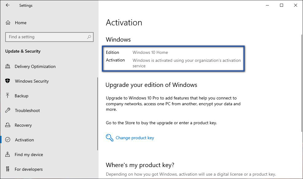 Status Aktivasi Windows 10