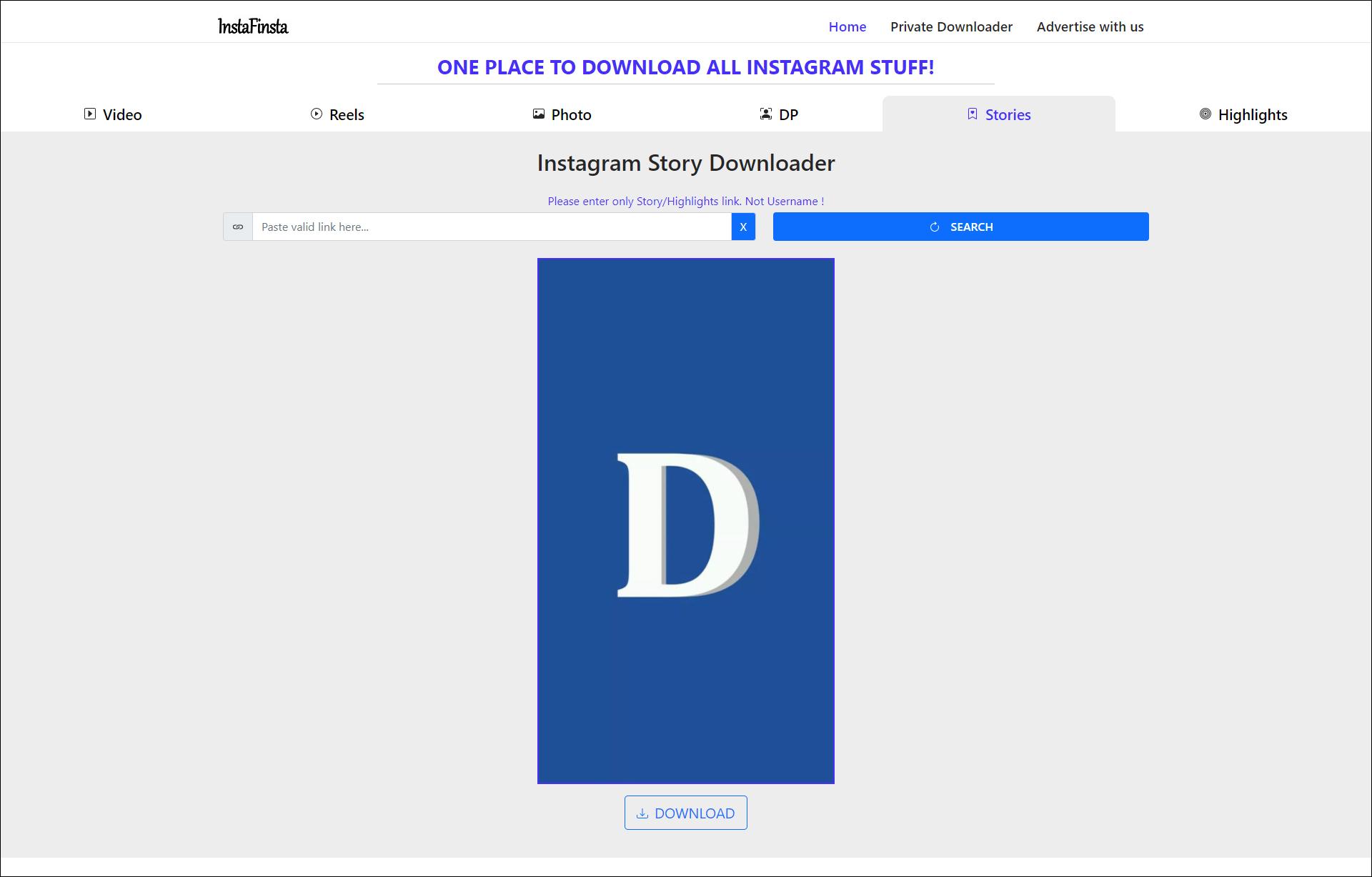 3 Download story dari Insta Finsta