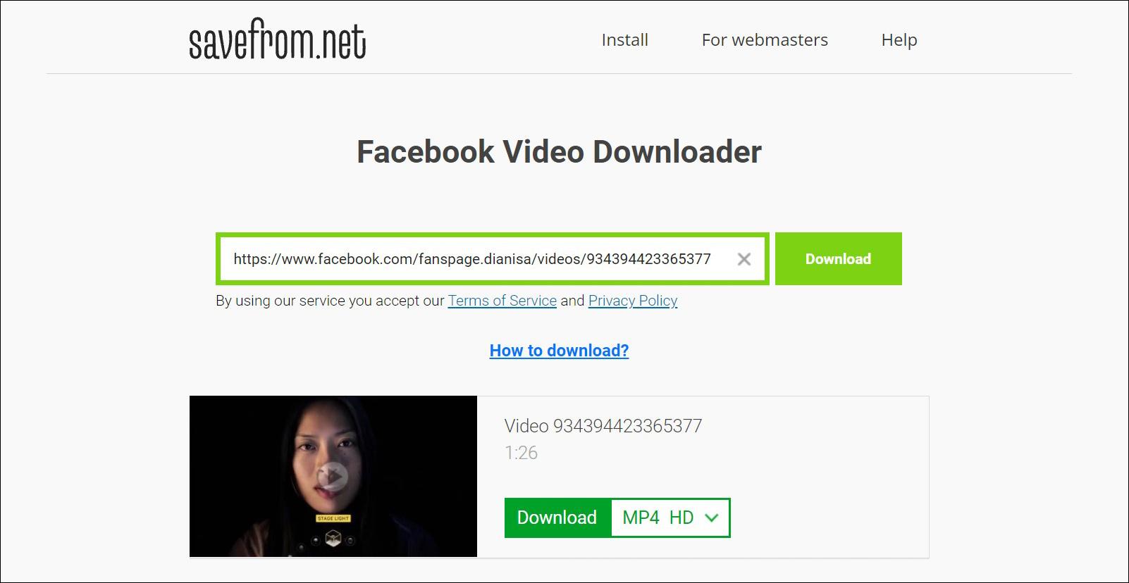 2 Pilih kualitas video yang ingin di download