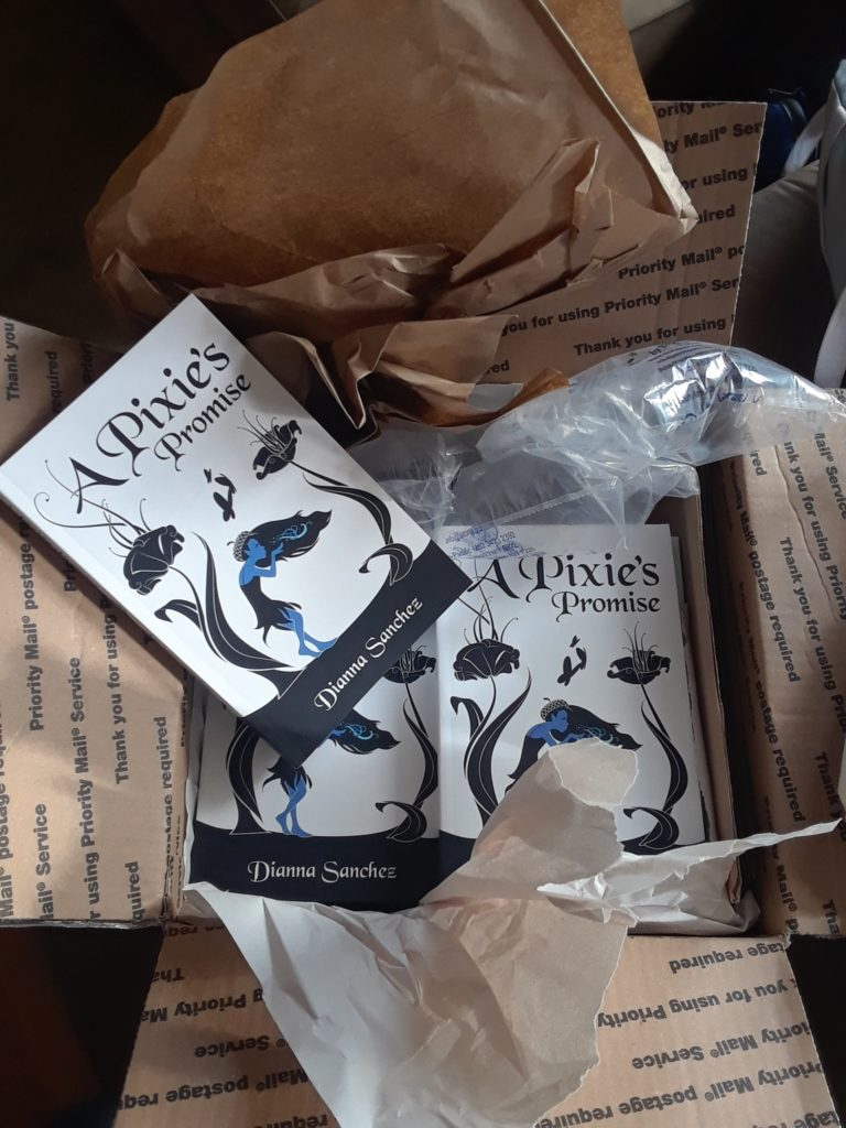 Copies of A Pixie's Promise in shipping box