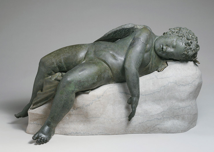 eeping Eros, 300 - 100 BC; bronze (with a modern marble base). Lent by the Metropolitan Museum of Art, Rogers Fund. Photo: National Gallery site.