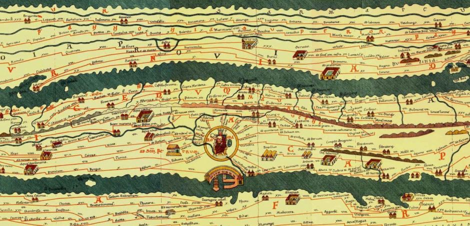 Peutinger Map, 13th c., from a facsimile of 1887-1888. Original is at the Austrian National Library, Vienna.