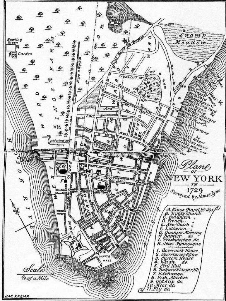 View of New York almost 60 years later, under the British: a 1729 map (not sure if this is the original, or a later, cleaned-up version).