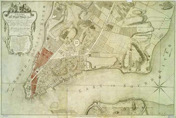 Manhattan after the Great Fire of 1776, marked in red.