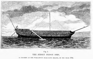 """Ship """"Jersey,"""" dismasted and rudderless, used to house prisoners in Wallabout Bay. Image: Wikipedia."""