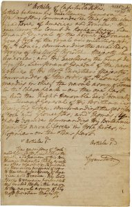 Page from the Articles of Capitulation, signed October 19, 1781, at Yorktown.
