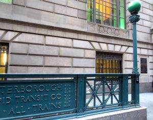 48 Wall Street: the subway entrance was designed to match the building's style. Photo copyright (c) 2016 Dianne L. Durante