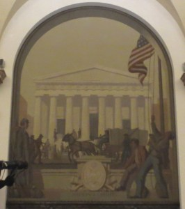 """Sixth mural: """"National Credit, 186__."""" In the background is Federal Hall at Wall and Broad Streets. Photo copyright (c) 2016 Dianne L. Durante"""