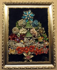 Fantastic bejeweled Christmas tree, about 12 inches tall. Bergdorf's, top floor.