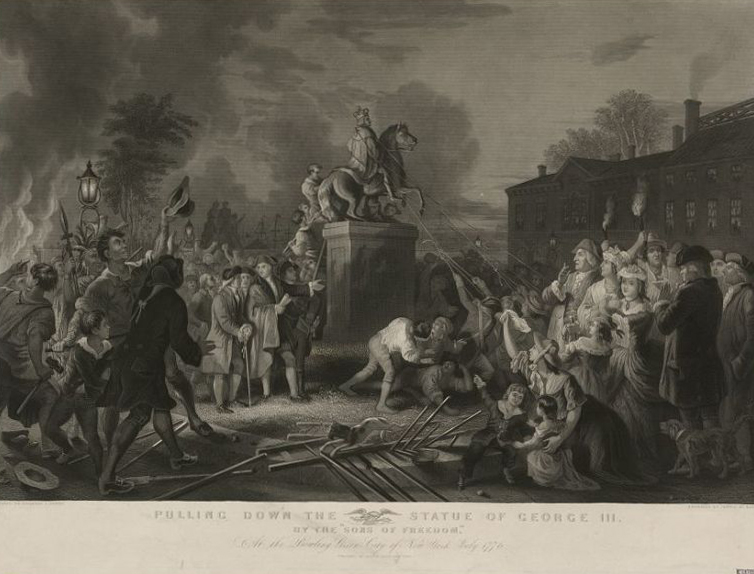 Statue of George III being pulled down at Bowling Green, 1776. Engraving after a painting by Johannes Adam Simon Oertel (1852-53) at the New-York Historical Society. Photo of this engraving: Library of Congress