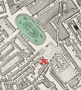 Map showing Lansdowne House in the early 1800s, just below the lower end of the green oval (Berkeley Square). Image: Wikipedia