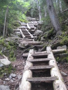The snow is about three feet deep in the mountains, but it won't be long before I can start doing some maniacal hiking. These steep ladders climb straight up Mt. Willey.