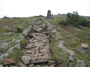 The final leg of the Benton Trail climbs up over the mountain's bald alpine summit.