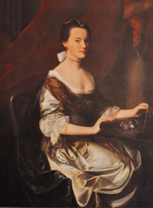 John's first cousin and wife, Lady Frances Wentworth.  They married 10 days after the 1769 death of her first husband, Theodore Atkinson. This portrait by John Singleton Copley painted this portrait in xxx, when Frances was about 20 and married to Atkinson.