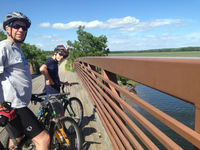 The eight-ride from Saco to Scarborough culminates in the bridge over the Scarborough River. Currently (2016), the Eastern Trail is raising funds that will close a 1.6 mile gap in the trail so that riders can ride off road continuously to Bug Light in South Portland.