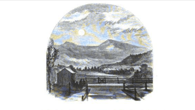 A view of Mount Moriah, circa 1859, from Gorham (Andrews  engraving from Wheelock drawing, see note below).
