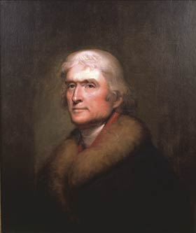 Thomas Jefferson was 62 when he sat for this 1805 portrait by Rembrandt Peale (New York Historical Society).