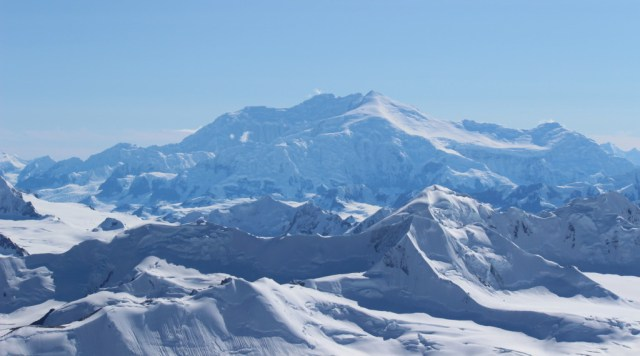 A view of Mount Logan, Canada's highest at X feet.  In the distance (but not in this photo), we could also see Mount Elias, the second tallest mountain in the US.