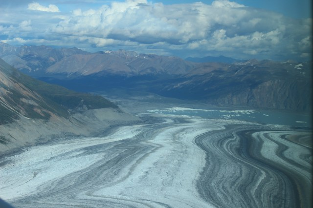 Heading back to Haines Junction, using the glacier as a path.