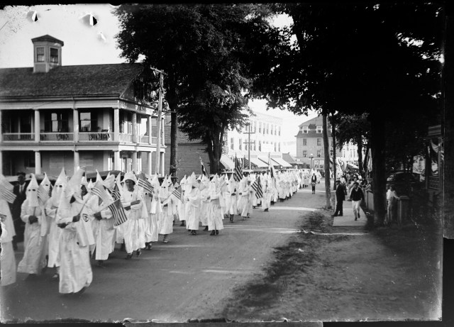 """This photo by early 20th century photographer and businessman Frank Walker documents one of the KKK """"Konclaves"""" held in Kittery in the 1920s."""