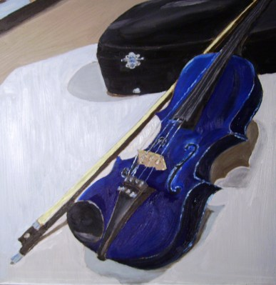"Blue Violin (2012) - 16x16"", oil on board (sold)"