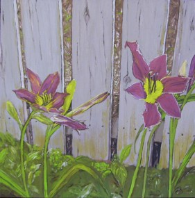 "Maroon Daylilies - Flowers by a Fence #3 (2013) - 12x12"", oil on board (sold)"