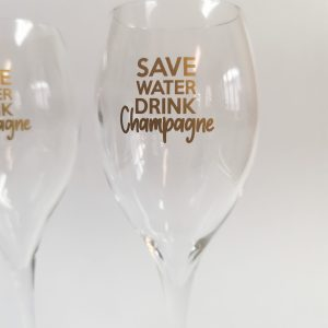 Duo de Flûtes de Champagne Save Water and Drink Champagne