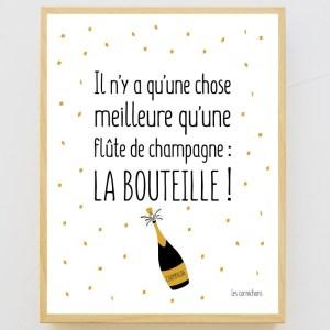 Affiche encadrée Bouteille meilleure qu'une flûte de champagne
