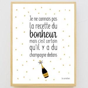 Affiche encadrée La recette du bonheur, Le champagne