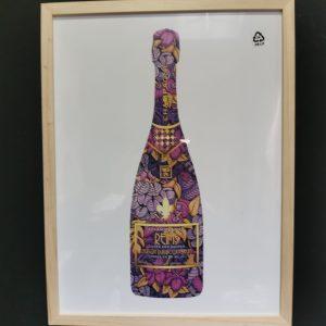Affiche encadrée Bouteille de Champagne Rose
