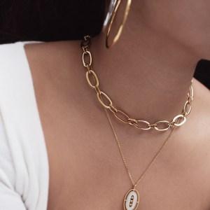 Collier Noura – Acier doré